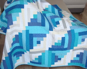 Modern Throw Quilt / Modern Blue Quilt / Modern Log Cabin Quilt / Living Room Quilt / Blue Modern Quilt / Lap Quilt / Adult Lap Quilt