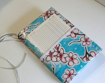 Bible Cover, Oilcloth Bible Cover, Handmade Bible Cover For NWT Bible, Bible Cover With Pocket, Blue with Cherry Blossoms Oilcloth Cover