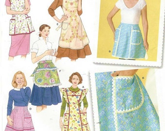 Retro Apron Pattern, Simplicity 4282, 6 styles, full coverage apron, with ruffles, pockets; 3 half apron styles, smock, all with pockets