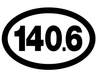140.6 IronMan Triathlon Oval Decal Vinyl or Magnet Bumper Sticker