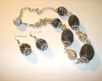 Statement Labradorite-Agate Jewelry Set. Necklace and Earrings.Gift for her under 50,FREE SHIPPING