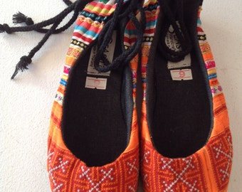 Vintage Thai Hill-tribe Fabric Shoes