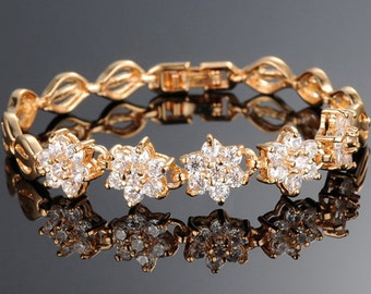 Gold Bracelet 14k gold bracelet jewelry bridal and wedding jewelry brides maids authentic