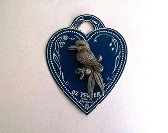 Oz Pewter kookaburra brooch with paste diamond, made in Australia