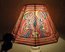 Peacock Motif Lampshade / Hand Painted Leather Lamp shade / Floor Lamp / Lamp shade / Floor Lamp shade