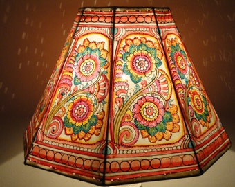 Floral Lampshade / Leather LampshadFloor Lamp / Large Lampshade