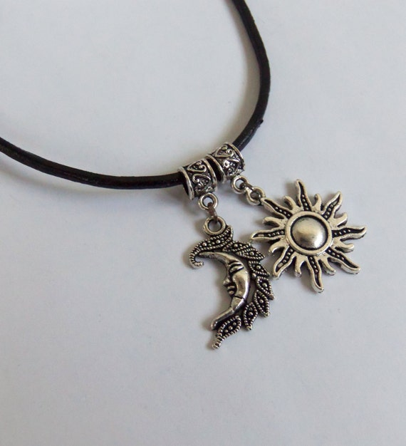 Moon and Sun choker necklace genuine leather by ...