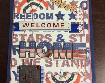 Patriotic card. Welcoming a soldier home.