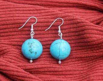 Retro Round Turquoise Bead Earrings