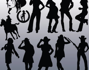 12 Cowgirl Silhouette Clip Art Images, Digital Clipart, Clipart Design Elements, Instant Download, Black Silhouette Clip art