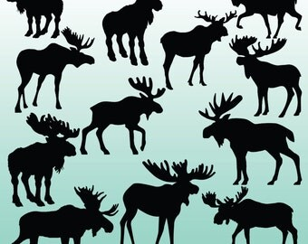 12 Moose Silhouette Digital Clipart Images, Clipart Design Elements, Instant Download, Black Silhouette Clip art