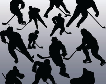 12 Hockey Silhouettes Digital Clipart, Clipart Design Elements, Instant Download, Black Silhouette Clip art