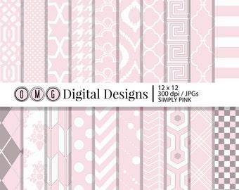 Light Pink Paper, Simply Pink Digital Scrapbook Paper, Decorative Paper, Digital Paper Pack, Digital Paper, Scrapbook Paper