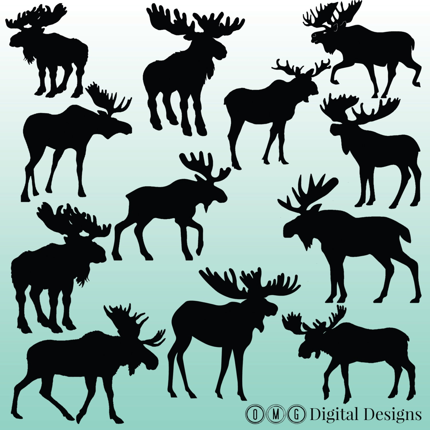 moose silhouettes 12 moose silhouette digital clipart images clipart design 8176