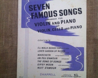 SALE WAS 10 Vintage Sheet Music for Violin, Cello, Piano. Seven Famous Songs. 1930s Songbook