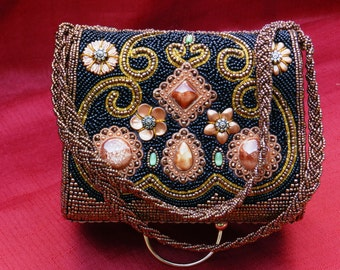 Moni Couture Black and Bronze Beaded Handbag with Stone Accents       01356