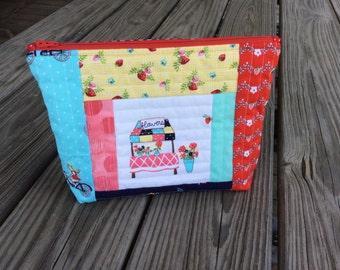 Handmade zipper pouch, cosmetic bag