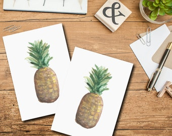 Pineapple Card, Beach Card, Tropical Printable Stationary, Thank You Card, Printable Card, Blank Card, Printable Blank Card, Thank You Note