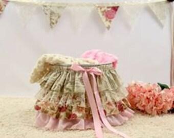 Ruffle Bucket Baby Photography Prop Pink Vintage