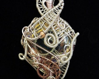 Ornate Freeform Silver Wire Woven Wrapped  Glass Pendant - Classical, Eye Catching, Unique