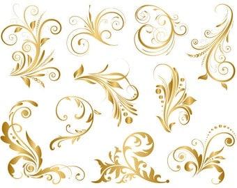GOLD Digital Flourish Swirl Clip Art Digital Flourish Swirls ClipArt Digital Scrapbooking Embellishments Decor Wedding Invitation DIY 0084