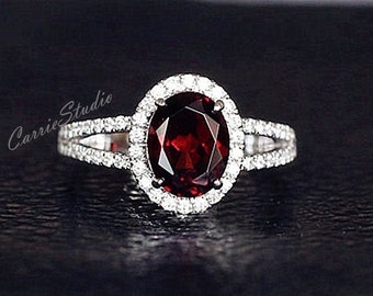 Natural Garnet Ring Garnet Engagement Ring/ Wedding Ring 925 Sterling Silver Ring Anniversary Ring Silver Gemstone Ring Promise Ring