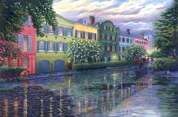 "Rainbow Row Reflections by Kevin Curran - Fine Art Print - Single White Mat 18"" x 24"" (image size 11.5"" x 17.5"") Charleston, South Carolina"