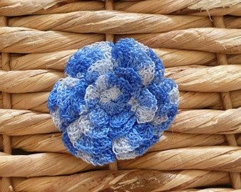 Blue Hair Clip Crochet  Flower/Baby/ Toddler/Girl/Infant/Hair accesories/Confirmation/Holiday Gift