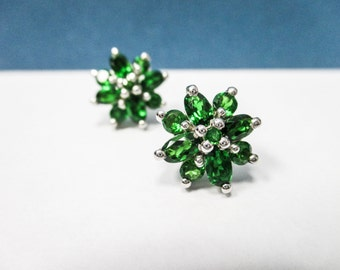 925, DARK green synthetic earrings