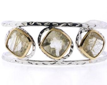 Silver Phrenite Cuff Bangle with Gold Plating