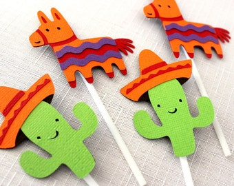12 x Mexican Fiesta Cupcake Toppers - Donkey Pinata & Cactus, sombrero, Mexican Hat