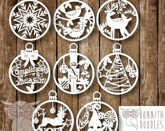 Christmas Baubles set of 8 can be resized PERSONAL
