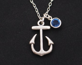 birthstone necklace, anchor necklace, long necklace option, silver anchor charm on silver plated chain, best friend gift, nautical