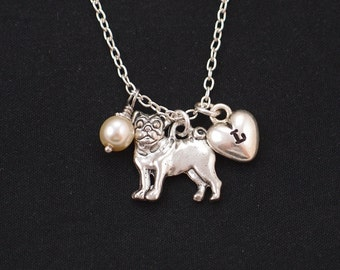 initial necklace, pug necklace, Swarovski pearl choice, silver pug dog charm on silver plated chain, dog lover gift, pug jewelry, dog memory