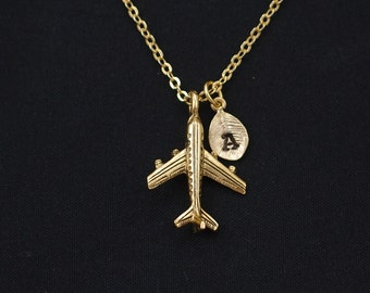initial necklace, airplane necklace, gold airplane charm, pilot gift, airplane jewelry, best friend jewelry, world traveler, wanderlust