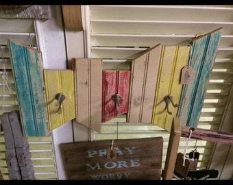 Rustic Beaded Board 3 Hook Coat Rack