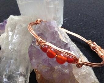 Copper and Carnelian Bracelet/Bangle