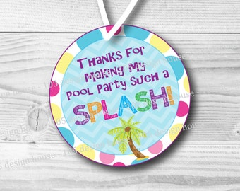 INSTANT DOWNLOAD Pool Party Favor Tag Printable 2.5 inch Favor Tags - Pool Party Favor Tags - Pool Party Tags - Printable Pool Party