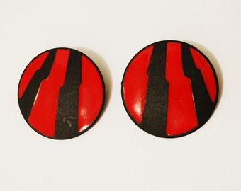 Vintage Metal custom Red Earrings.