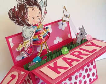 Chasing butterflies, Personalised Pop up card in a box, girl, birthday card