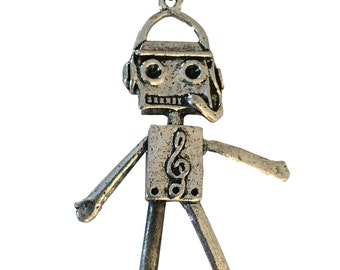 DJ Music Robot Metal Silver Pendant Necklace Moveable Arms Legs Pewterball Chain