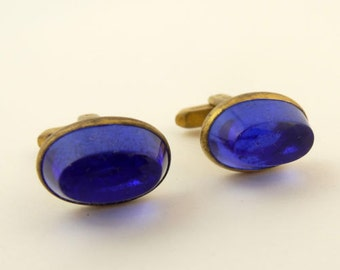 Vintage Hickok Cufflinks Blue Stone Oval Gold Tone