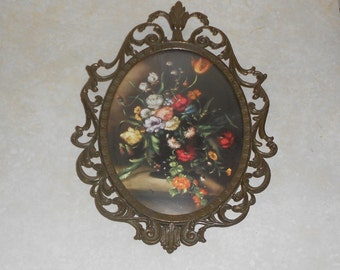 Metal Framed Floral Art Wall Hanging ~ Made in Italy ~ Italian Floral