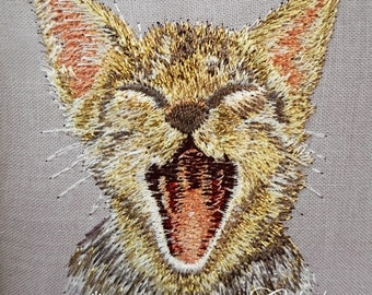 Machine Embroidery Design - Pocket Cat #2