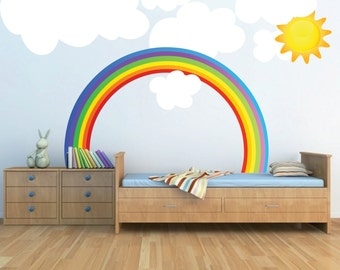 Rainbow Wall Decal Kids Bedroom Rainbows, Rainbow Wall Art, Nursery Rainbow Design, Kids' Room Rainbow Wall Mural Decal, Rainbow, n67