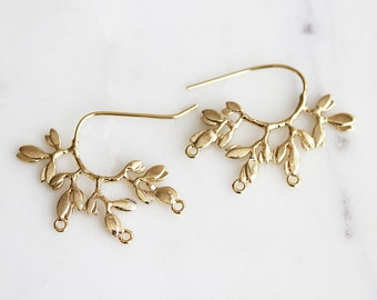 N3-106-G] Leaf / 37 x 20mm / Gold Plated / Ear Wire / 2 piece(s)