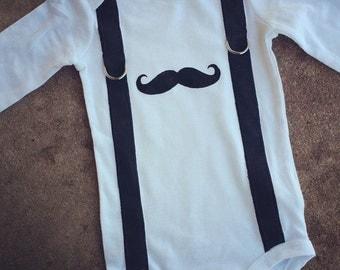 Mustach Suspenders Onesie, Boys Onesie, Mustache Onesie, Suspenders Onesie