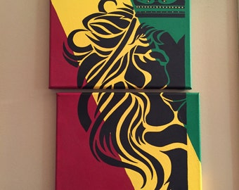 Lion of Judah/2 piece painting/canvas/tribal/acrylic/Jamaican colors/Rastafarian