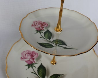 """tiered cake stand plate 2 third """"Queen of roses"""""""