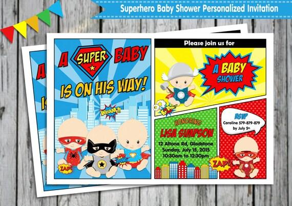 superhero baby shower invitation personalized printable invites